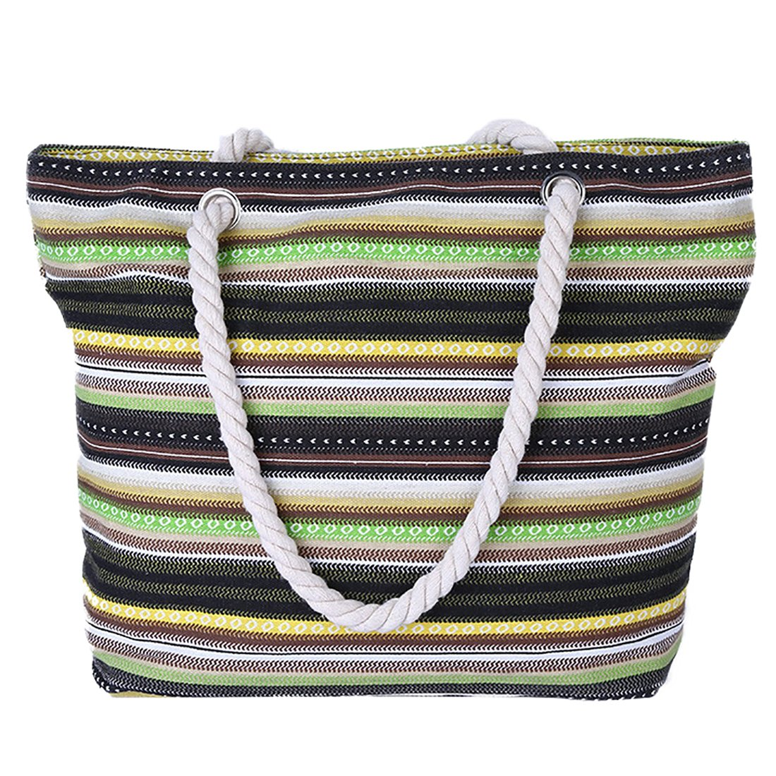 Large Bohemian for Women Canvas Beach Bag Striped Travel Hobo Tote Bag With Waterproof Lining (Striped 2)