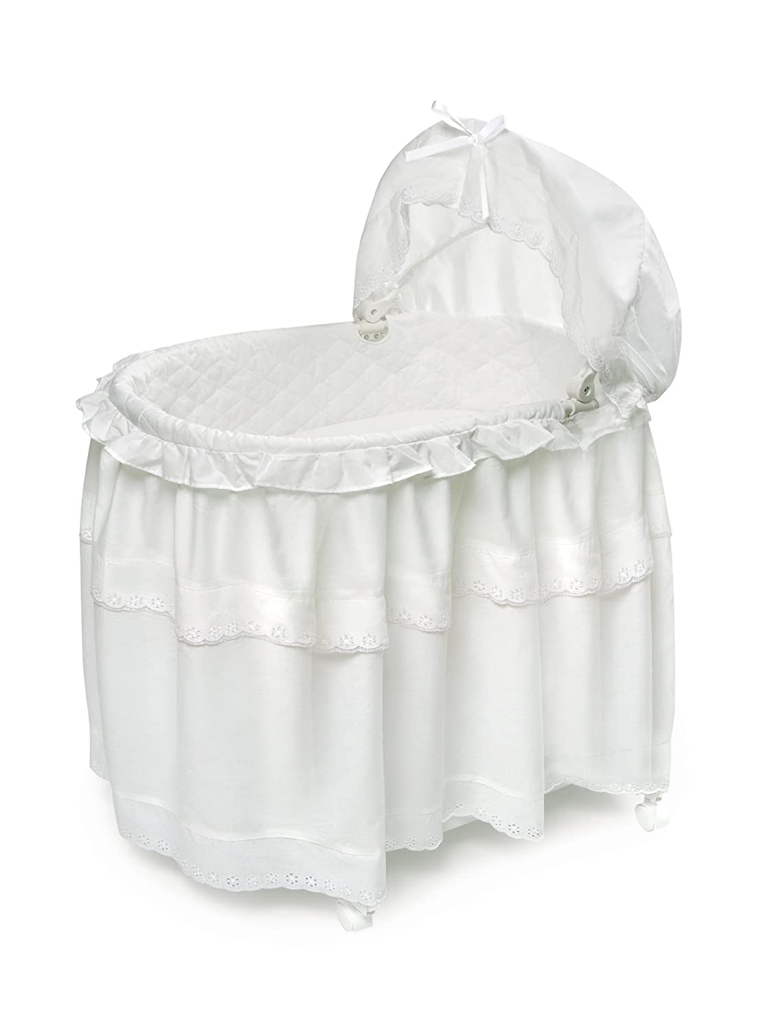 Badger Basket Floor Length Skirt Portable Bassinet N Cradle with Toybox Base, White 00620 66