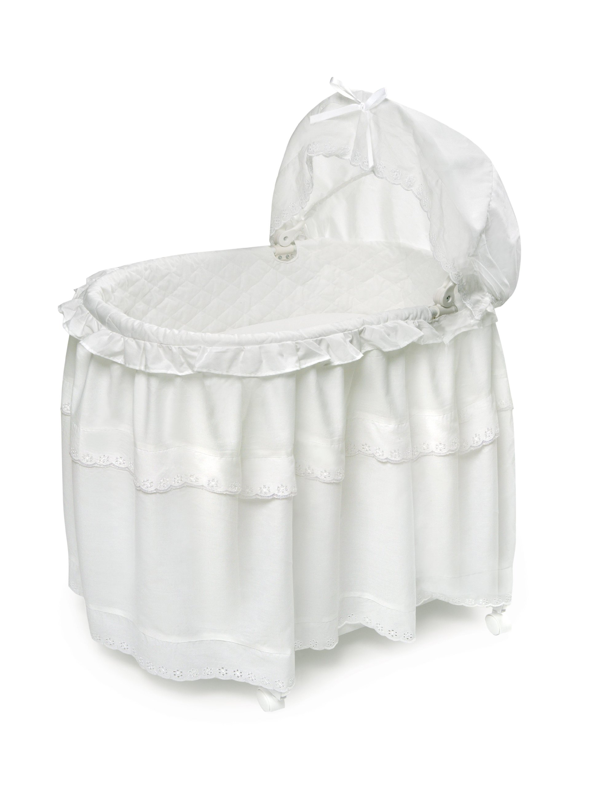 Badger Basket Long Skirt Portable Bassinet 'N Cradle with Toybox Base, White