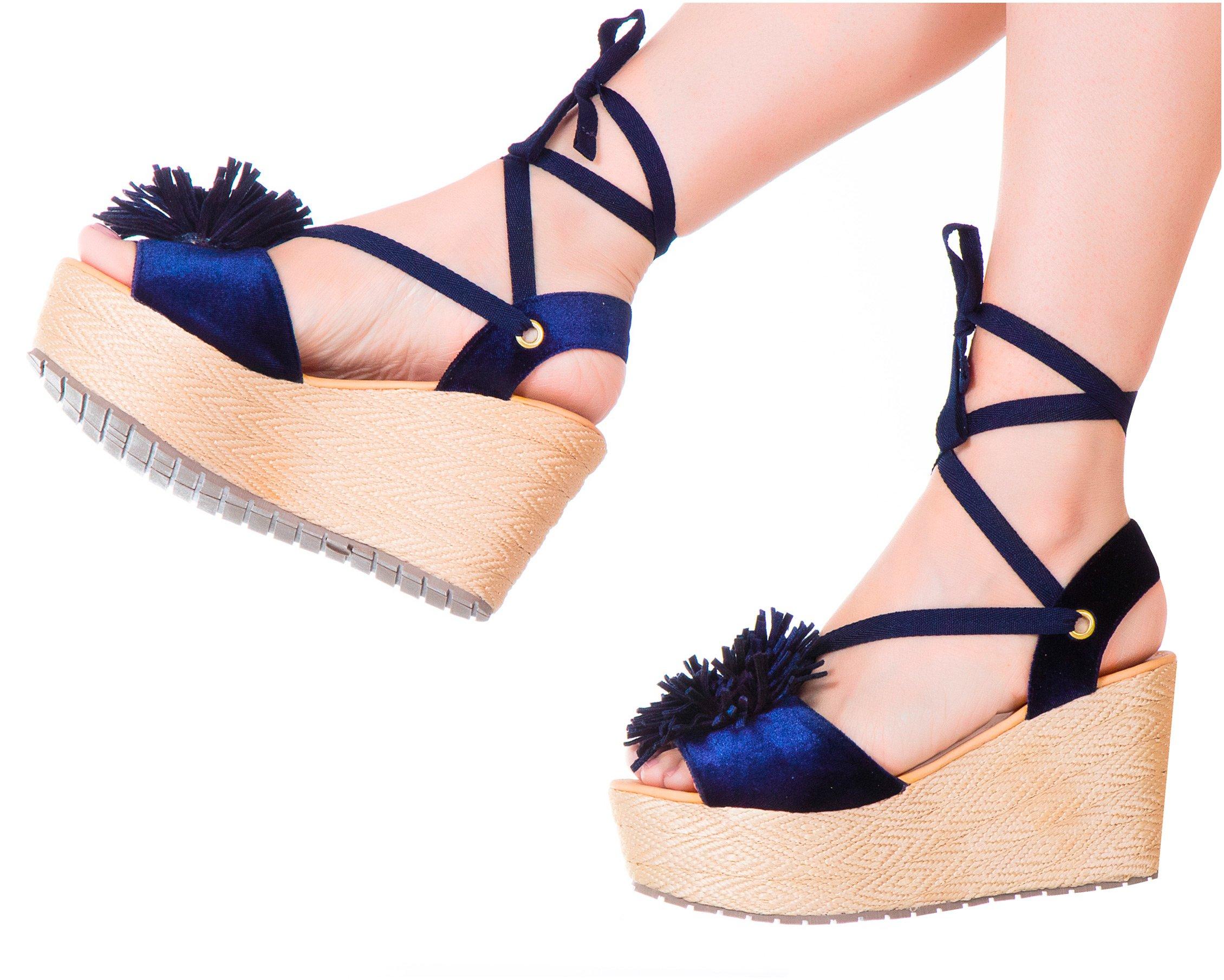 VIDALeather Women PomPom High Rise Lace up Ankle Tie Platform Colored Espadrille Comfort Fashion Shoes Calzado Plataforma de Dama de Moda Blue 5