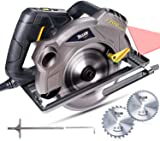 Circular Saw, TECCPO 1500W 5800 RPM Electric Circular Saw with 2 Ø185mm Blades and Laser Guide, Adjustable Cutting Depth and Bevel Angle, Pure Copper Motor, Aluminum Protector- TACS01P