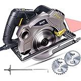 Sega Circolare, TECCPO 1500W Sega Circolare con Guida Laser, 2 Lame Ø185mm (40T&24T), 5800 RPM, Profondità di Taglio 63mm (90°), 45mm (45°), Motore in Rame - TACS01P (-10€ code: A8HT8PG6)