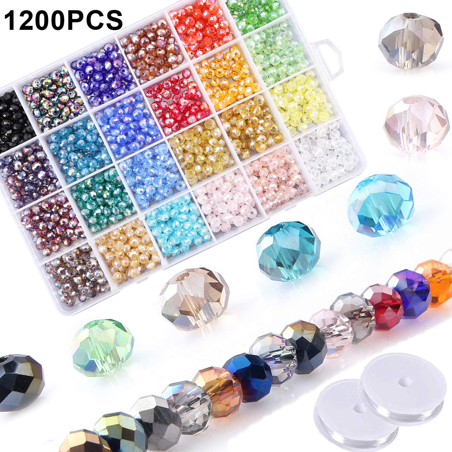Forever Yung 100pcs Peacock Blue Bicone Faceted Crystal Glass Beads 4mm for Jewelry Making