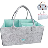 Baby Diaper Caddy Organizer - Baby Shower Gift Basket for Boys Girls | Diaper Tote Bag | Nursery Storage Bin for Changing Table | Newborn Registry Must Haves | Portable Car Travel Organizer (Aqua)