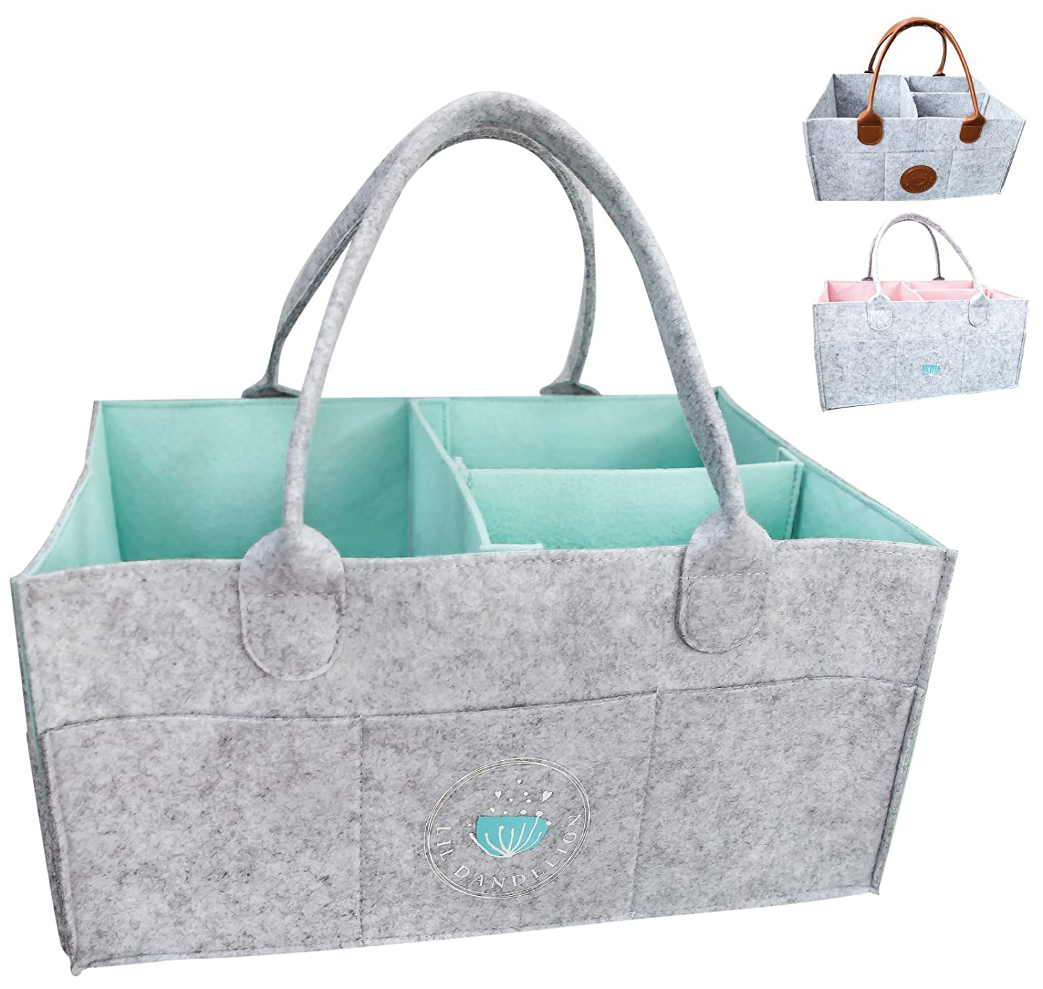 Baby Diaper Caddy Organizer - Baby Shower Gift Basket for Boys Girls | Diaper Tote Bag | Nursery Storage Bin for Changing Table | Newborn Registry Must Haves | Portable Car Travel Organizer (Blue) Lil Dandelion