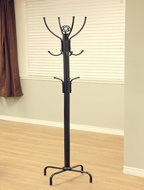 """12 Hooks 73/"""" Metal Coat Rack Stand Hat Jacket Tree Holder Hanger Black"""