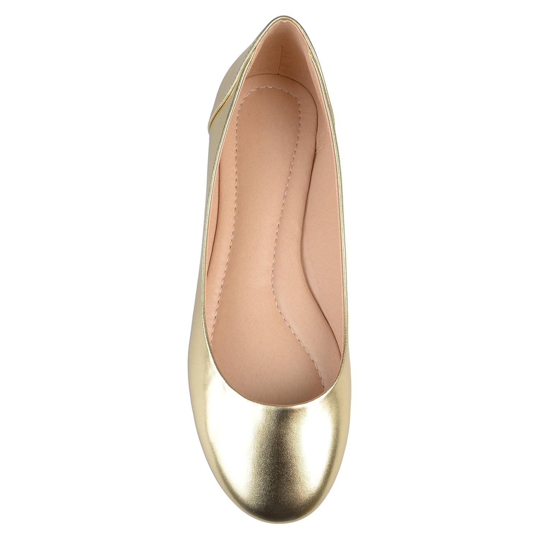 Brinley Co Womens Comfort Sole Faux Leather Round Toe Flats B073VSMRXY 8 B(M) US|Gold