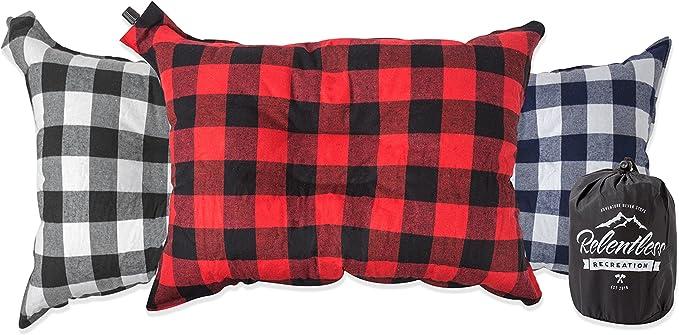 SeniorMar Inflatable Pillow Comfortable Outdoor Travel Camping Home Office Sleeping Self-Inflating Portable Pillow PVC Flocking Fleece