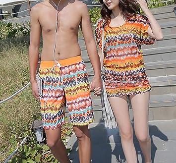 HOMEE Parejas Traje de baño Bikini de Tres Piezas Sra. Pequeño Cofre  Reunido Boxer Splits 87b7d60b231f