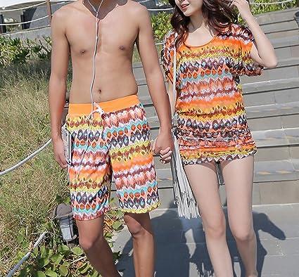 928dd54e1 HOMEE Parejas Traje de baño Bikini de Tres Piezas Sra. Pequeño Cofre  Reunido Boxer Splits