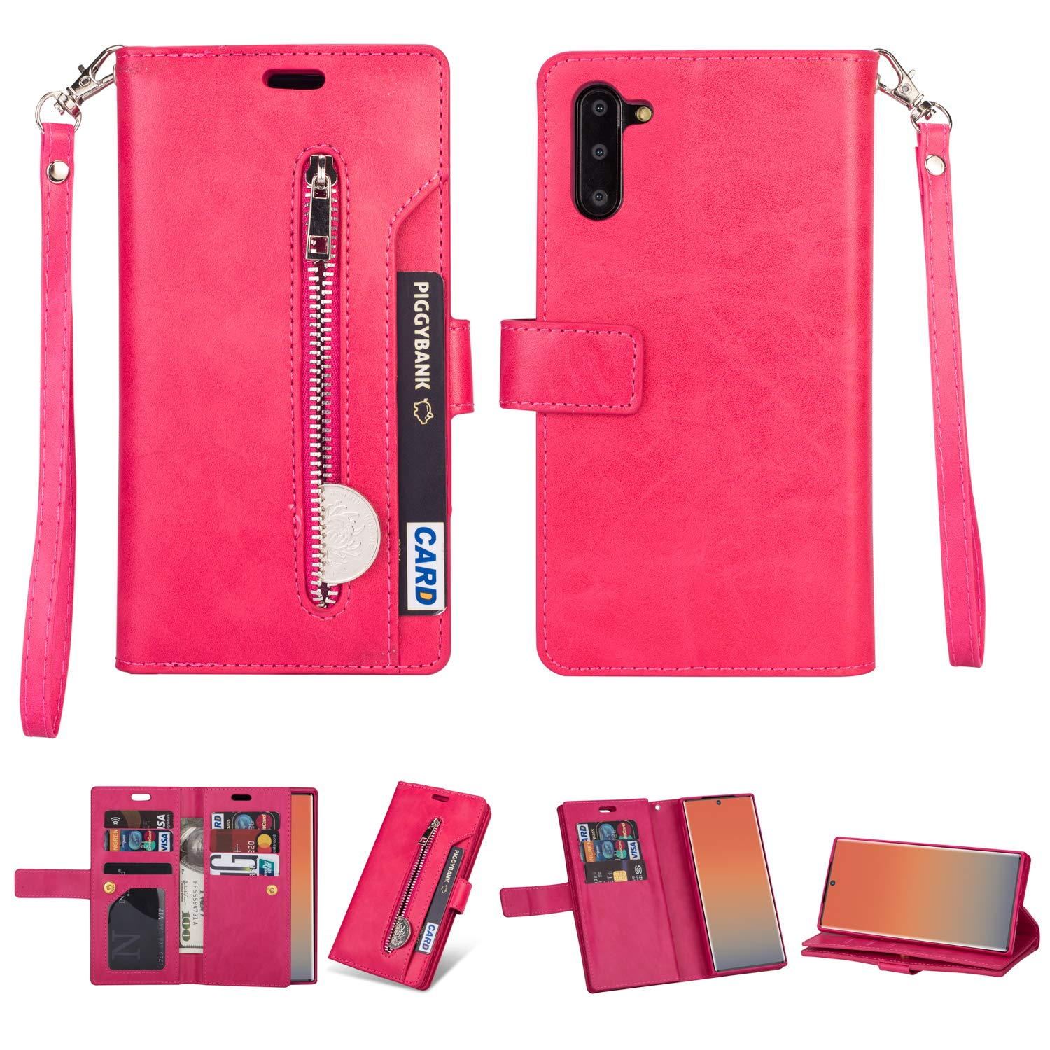 DAMONDY for Samsung Note 10 Case,Zipper Stand Wallet Purse 9 Card Slot ID Holders Design Flip Cover Pocket Purse Leather Magnetic Protective for Samsung Galaxy Note 10-hot Pink