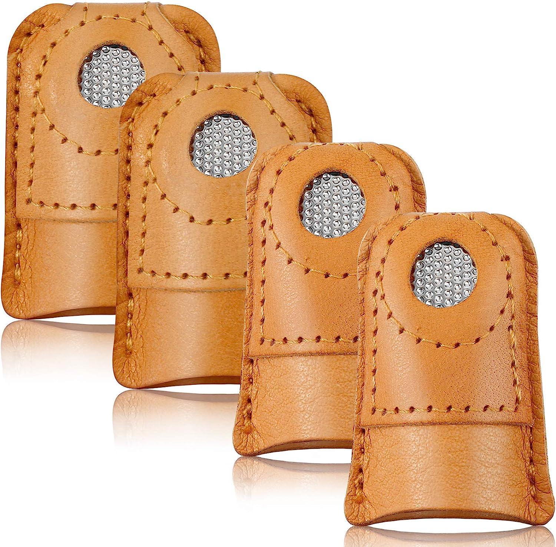 4 Piezas Protector de Dedo de Dedal Costura Almohadilla de Dedo Dedal de Cuero Protector Dedal Moneda para Tejido Costura Acolchado Agujas Accesorio Artesanal Herramienta Costura Bricolaje, 2 Tamaños