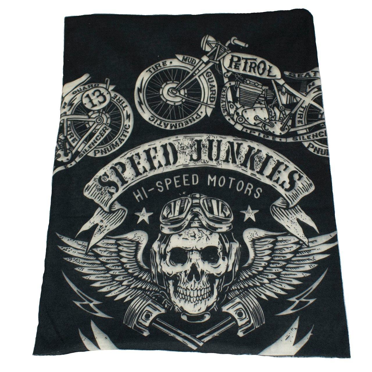 TRIXES Bandana multiuso nera con teschio stile biker da usare come sciarpa, passamontagna, fascia ecc. ZN38