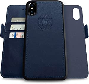 Dreem Fibonacci 2-in-1 Wallet-Case for Apple iPhone X & Xs - Luxury Vegan Leather, Magnetic Detachable Shockproof Phone Case, RFID Card Protection, 2-Way Flip Stand - Royal