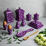 Handmade Purple and White Polka Dot Ceramic Kitchen Serving, Storage Set of 10   Large & Small Canisters, Butter Dish, Egg Cups, Salt & Pepper Shakers, Spoon Rest, Housewarming Gift by City to Cottage
