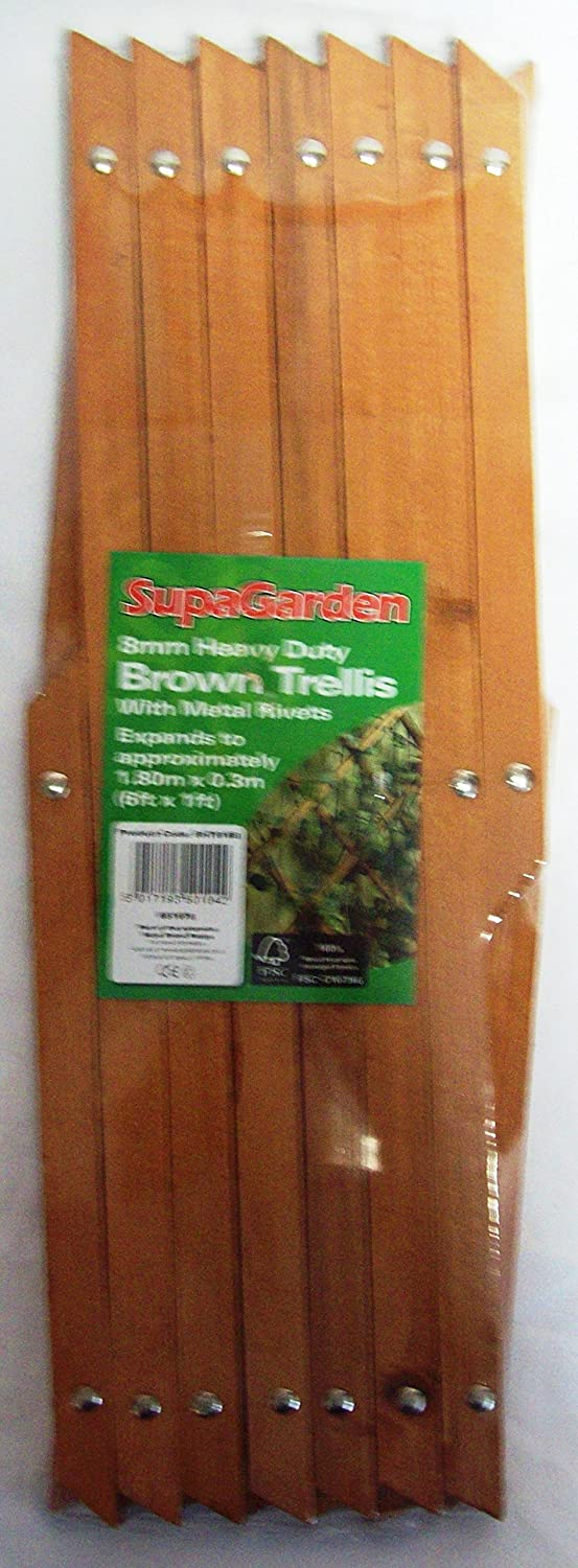Brown Hardwood Expanding Trellis Expands to approx. 6ft x 1ft (1.82m x 0.3m) SupaGarden VDTAZ012B