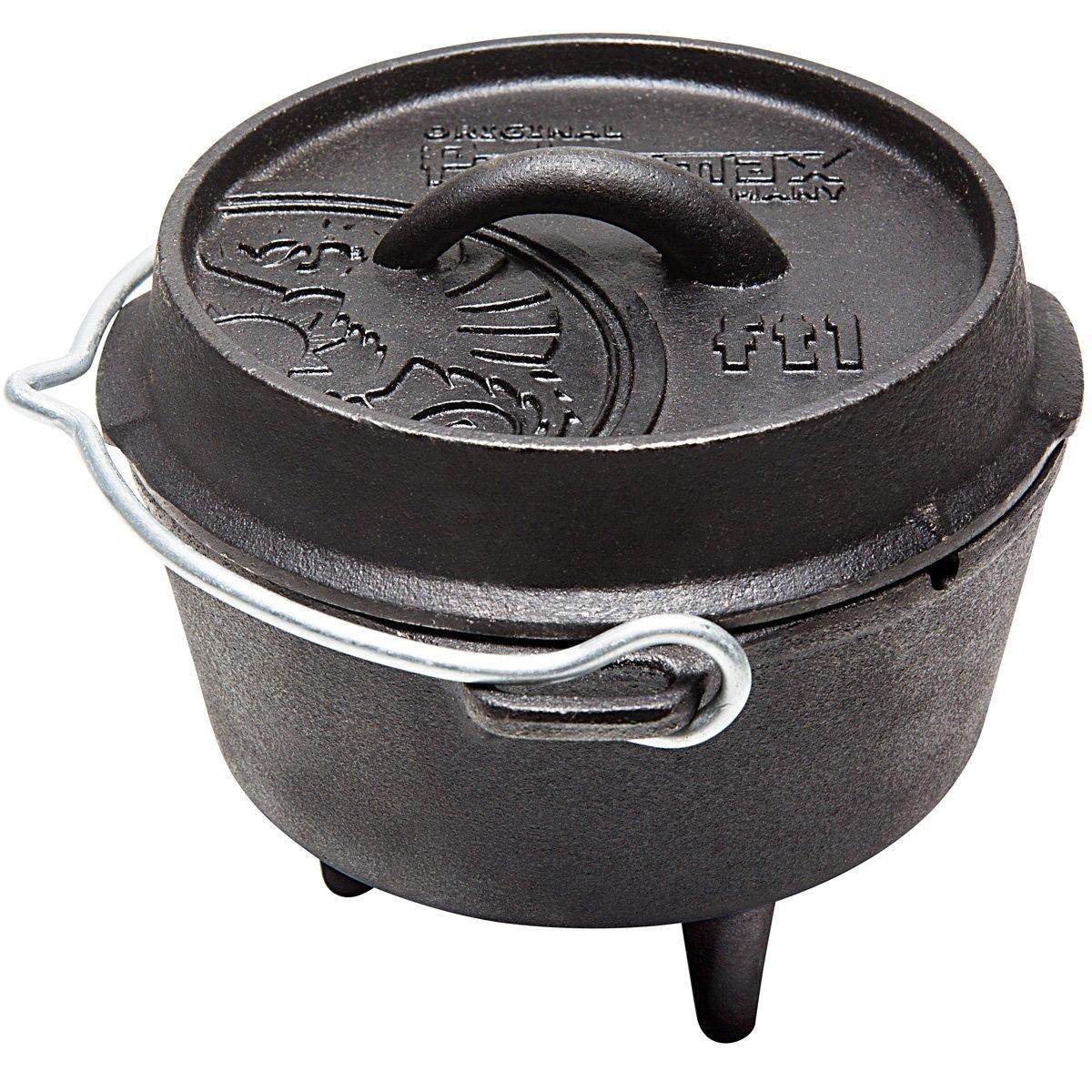 Feuertopf ft1 aus Gusseisen in schwarz Deckel auch als Pfanne nutzbar • Dutch Oven Schmortopf Grill Topf Töpfe Bräter