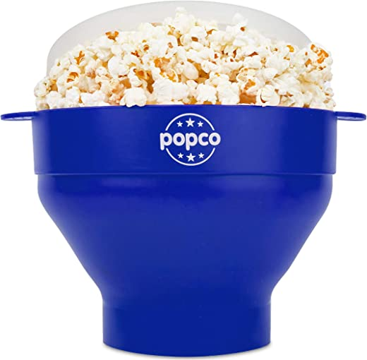 The Original Popco Silicone Microwave Popcorn Popper with Handles, Silicone Popcorn Maker, Collapsible Bowl Bpa Free and Dishwasher Safe - 15 Colors Available (Blue)