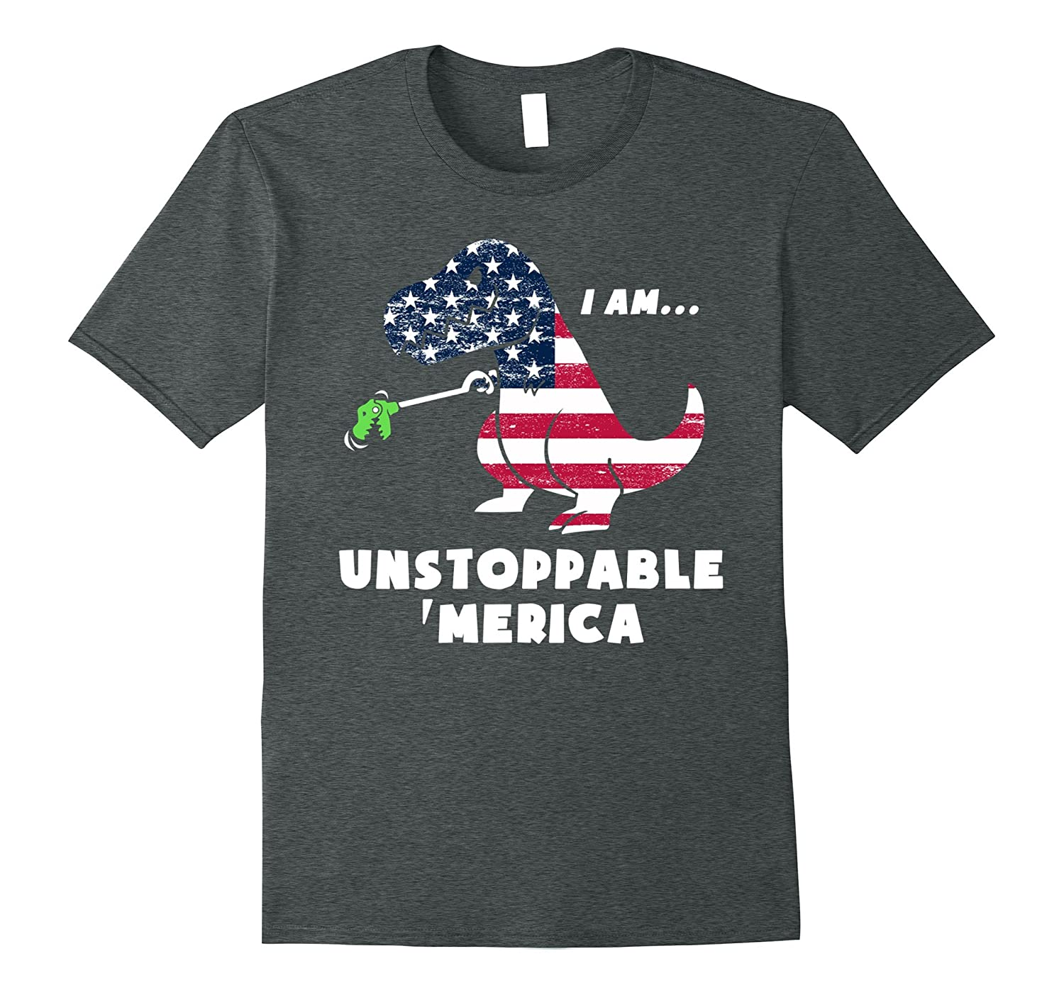 4th July T-Rex American Flag Unstoppable Funny T-Shirt