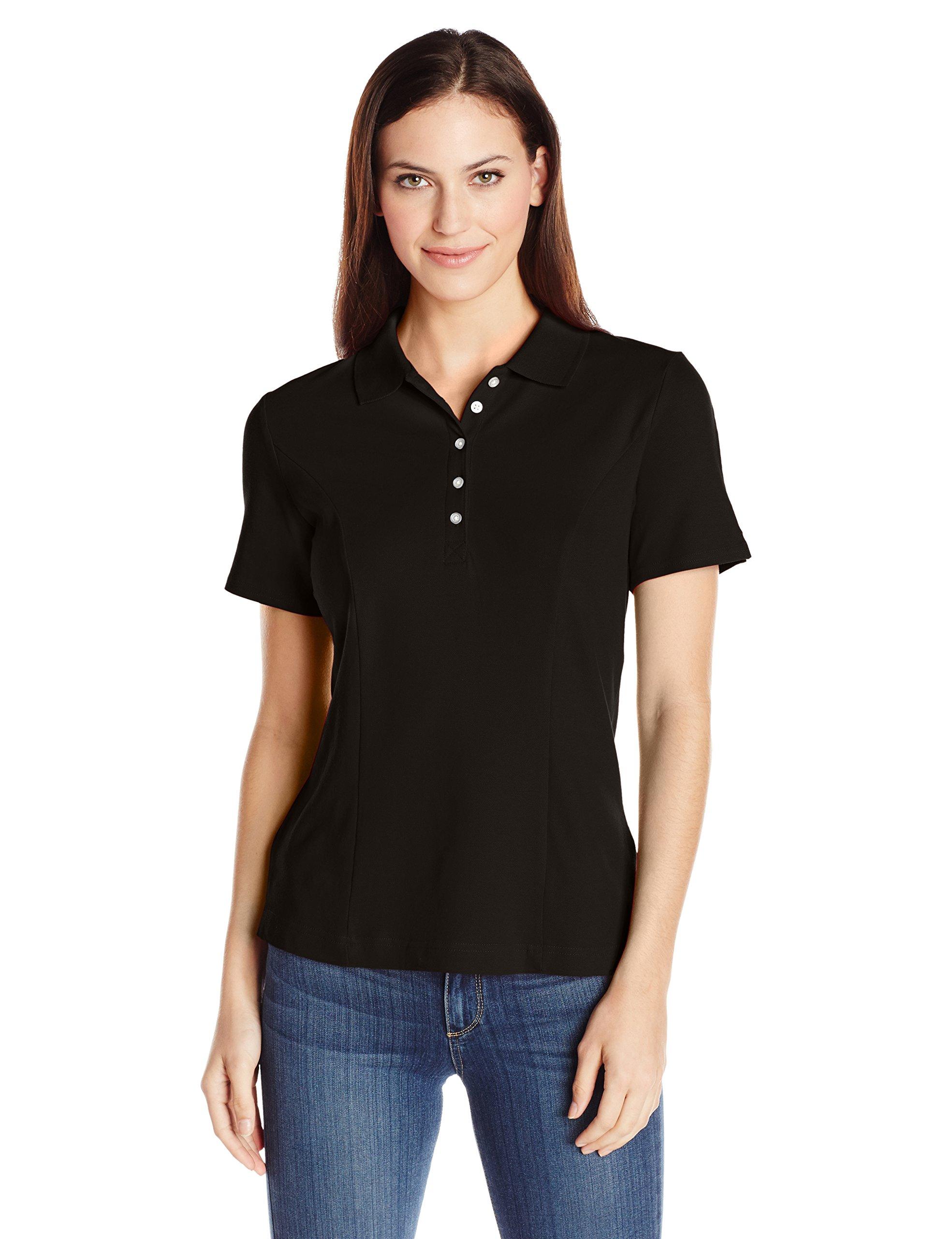 Riders by Lee Indigo Women's Morgan Short Sleeve Polo Shirt, Black Soot, Large