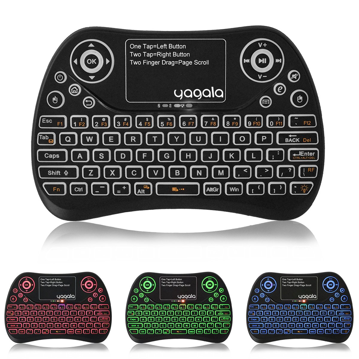 YAGALA Backlit Mini Wireless Keyboard with Touchpad 2.4G Rechargeable Backlit Handheld Remote Control Keyboard and Mouse Combo with Multimedia Keys for Android TV Box, PC, PAD, Smart TV, X-Box, HTPC by YAGALA