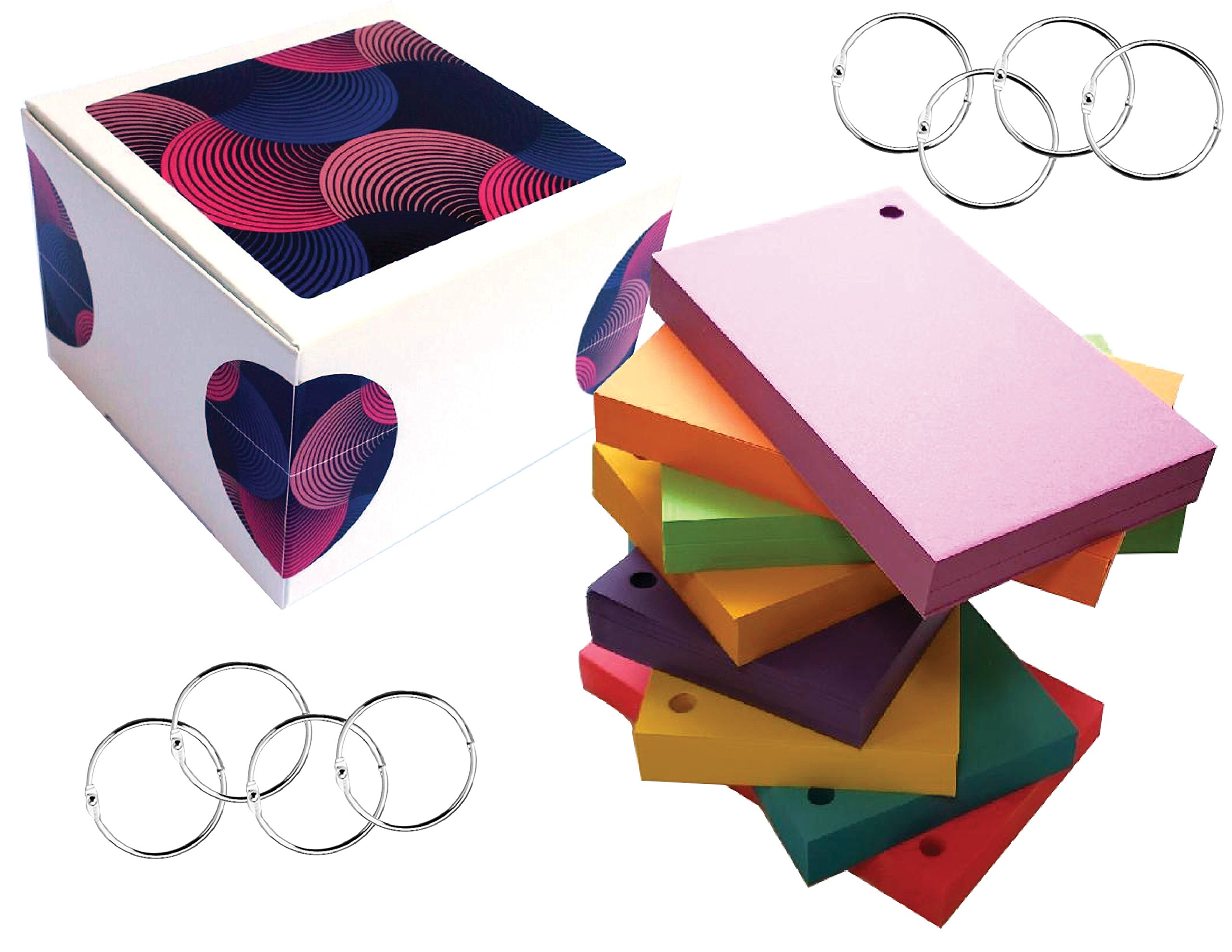 Debra Dale Designs - 3'' X 5'' Inch Hole Punched Cards - Standard Smooth 80# Card Stock - 50 Each Of Eight Astrobright Colors - 8 Metal 1.5 Inch Binder Rings by DEBRADALE DESIGNS