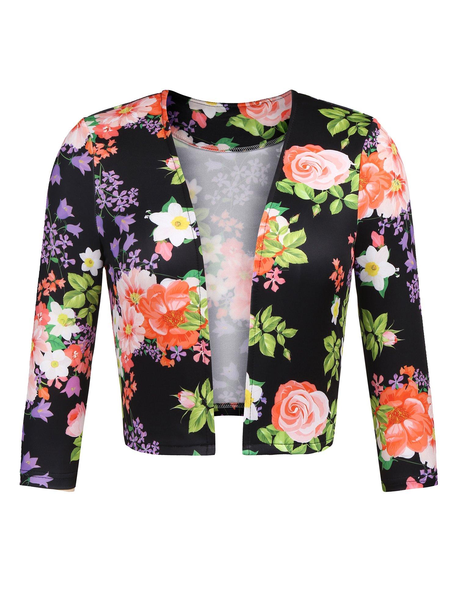 Zeagoo Women's Floral Shrug Jacket 3/4 Sleeve Cardigan Bolero Floral Blazer Black Plus Size,XXX-Large