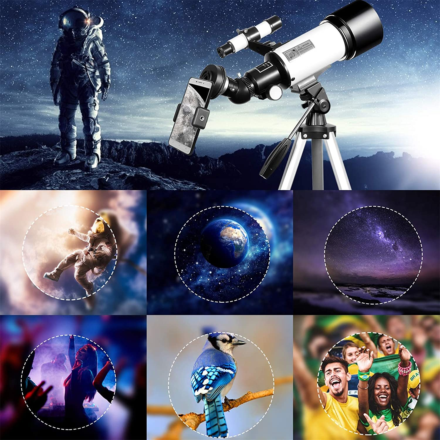 Telescopes for Adults Astronomy,70mm Aperture 400mm Mount,Telescope for Kids Beginners,Fully Multi-Coated Optics,Astronomy Refractor Telescope Portable Telescope with Tripod,Backpack,Phone Adapter