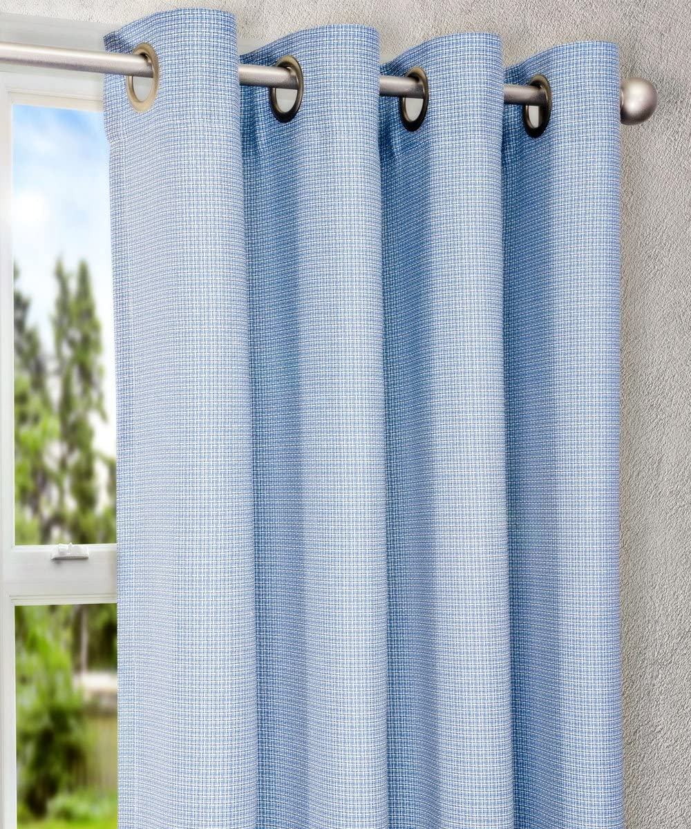 Ellis Curtain Landis Mini Check Textured Weave Grommet Top Lined Curtain Panel, 52 by 63-Inch, Blue