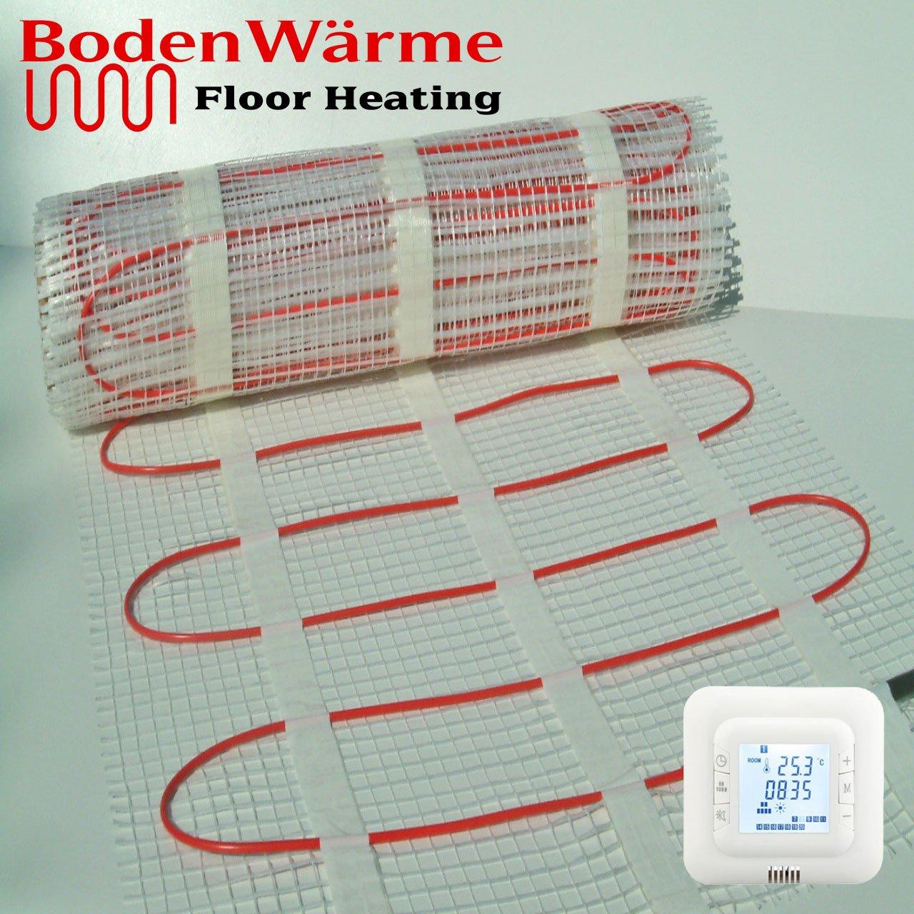 BodenW/ärme Red calentadora el/éctrica para suelo con dobles cables y termostato Digital 150/W//m/² 1.5m/² Thermostat Blue Backlight. tama/ño a elecci/ón