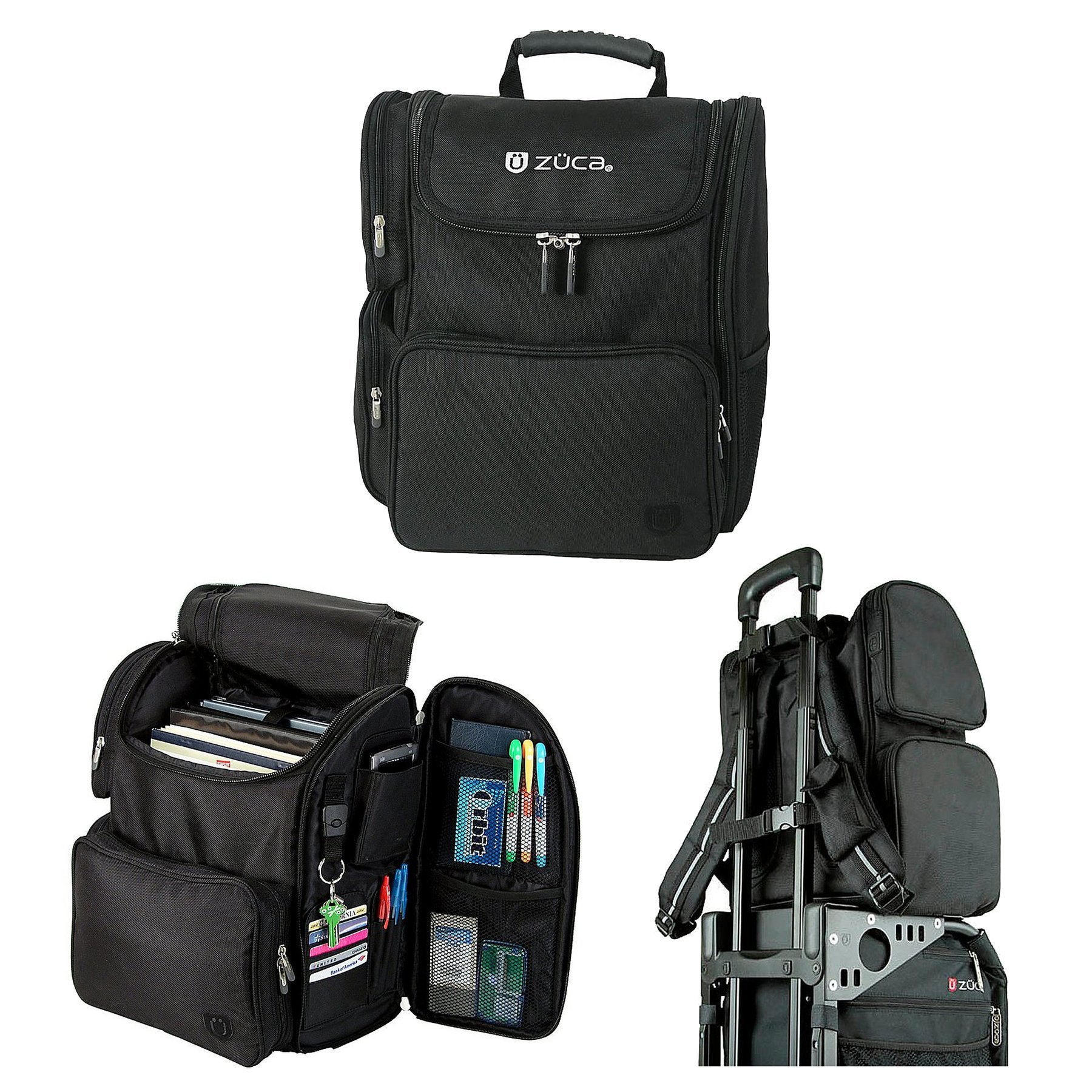 ZUCA Duo: Flyer Travel, Black Bag with Black Frame, Business Backpack and 3 Gift Document Organizers by ZUCA