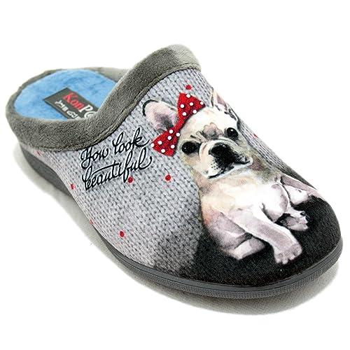 KonPas 5596 - Zapatillas Grises con Perro con Lazo Rojo - Gris Claro, 40: Amazon.es: Zapatos y complementos