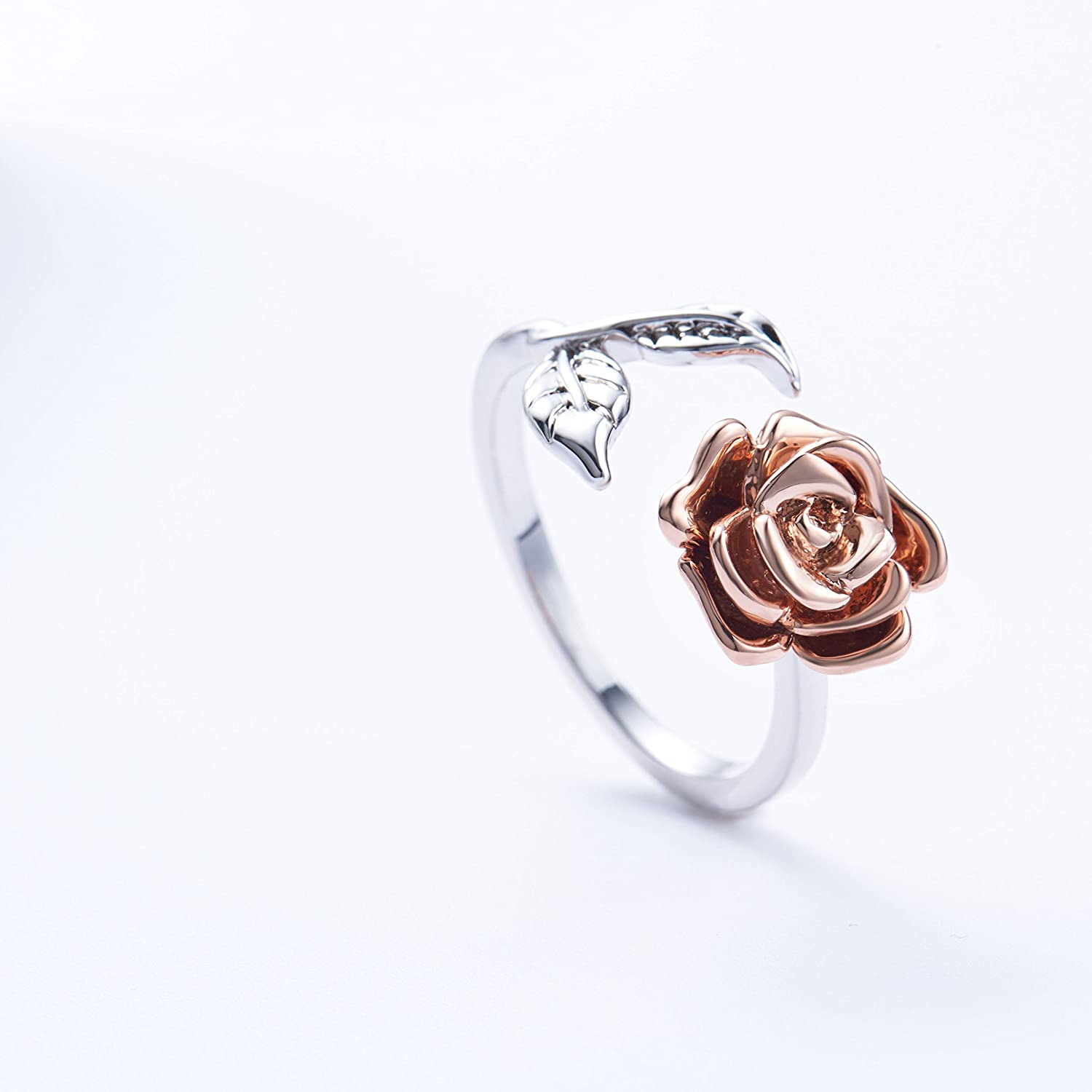 3fcb0d55637b Amazon.com  Rose Ring for Woman Flower Leaf Ring Adjustable Rings for Teen  Girls (red rose)  Jewelry