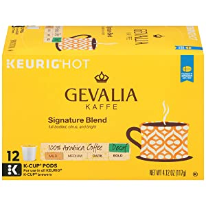 Gevalia Mild Signature Blend Keurig Decaf K Cup Coffee Pods (72 Count, 6 Boxes of 12)