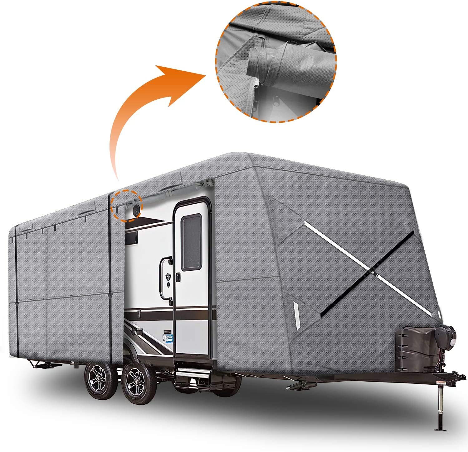 Fits Travel Trailer or Toy Hauler 27-30 XGear Outdoors Travel Trailer RV Cover with 3-Ply Roof for Max Weather Protection Grey