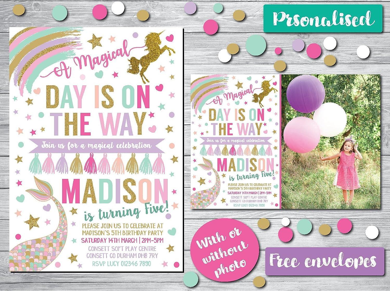 Mermaid Personalised Party Invitations girl
