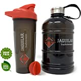 Half Gallon Water Bottle 64oz + 24oz Protein Shaker Bottle & Mixing Ball For Indoor/Outdoor Workouts, BPA & DEHP Free…