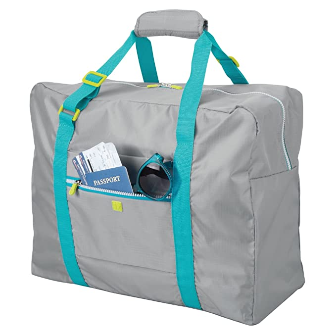 Amazon.com | InterDesign 07420 Collapsible Tote Travel Bag- Grey/Aqua/Lime | Packing Organizers