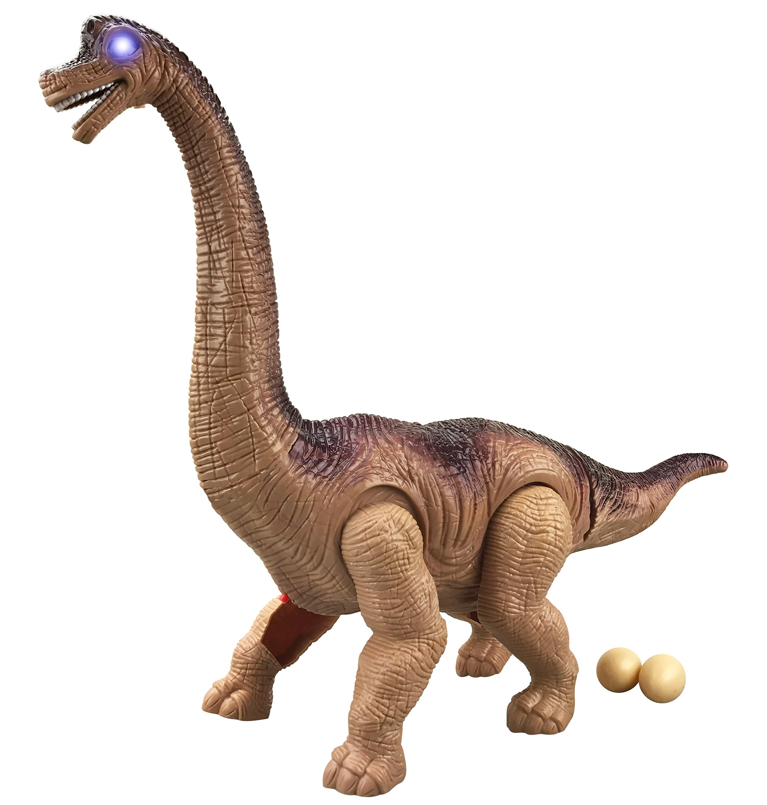 Liberty Imports Battery Powered Egg Laying Jurassic Large Walking Brachiosaurus Dinosaur Toy with Lights and Sounds