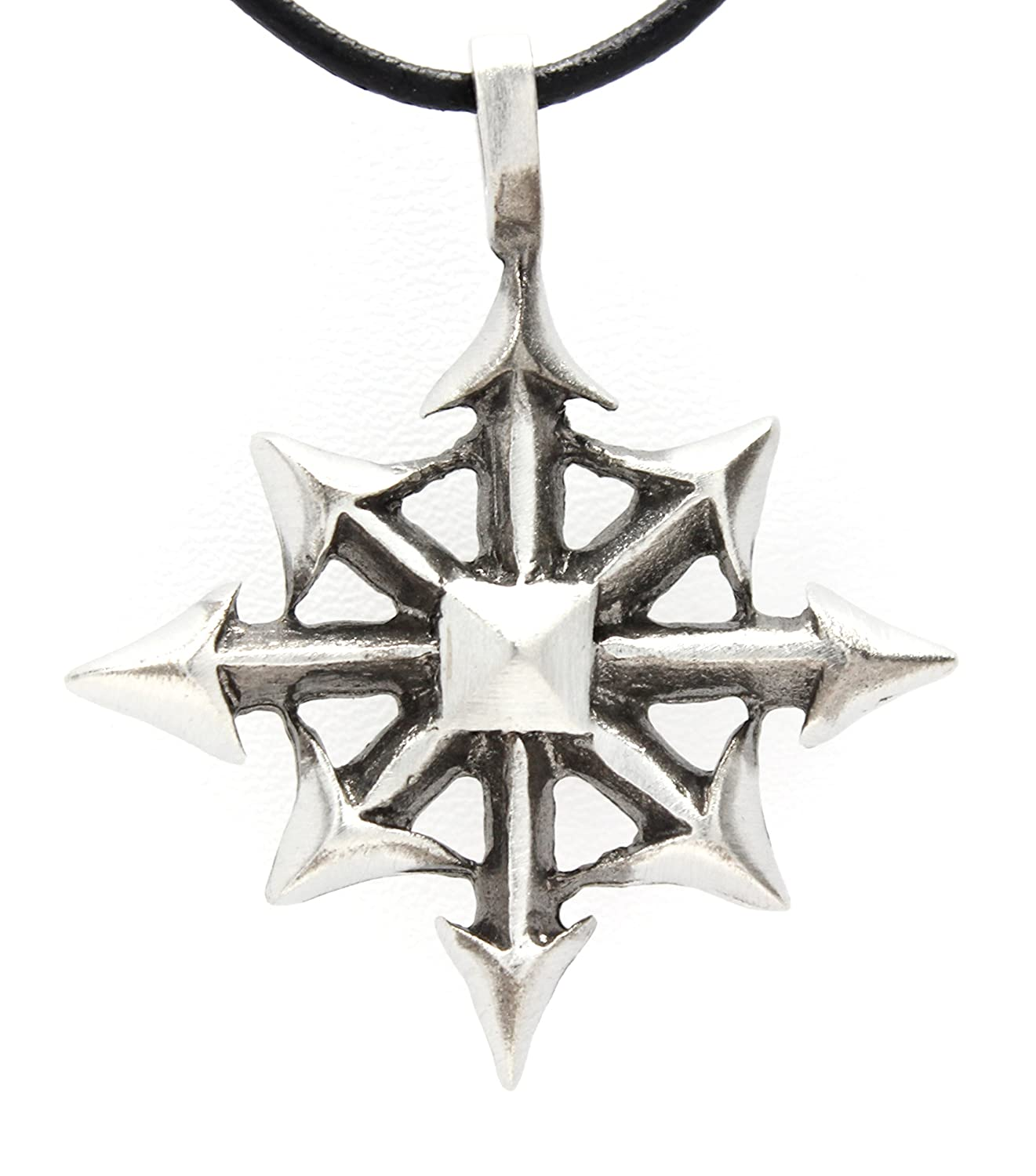 Pewter chaos star magic pendant on leather necklace amazon aloadofball Gallery