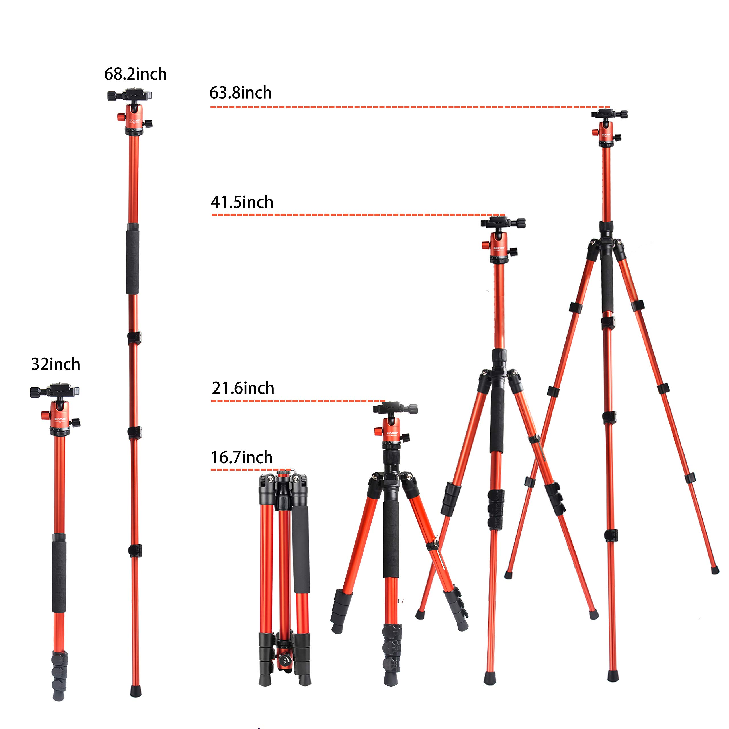 Zomei M3 Travel Camera Aluminum Tripod Lightweight Professional with 360 Degree Ball Head,1/4\