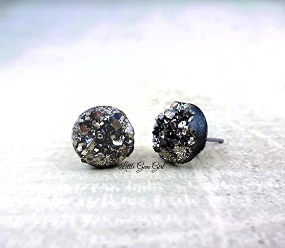 earrings tone quartz nickel and free stud gold black lead druzy