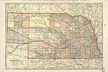 Amazon.com: Map Poster - Map of Nebraska : United States ...
