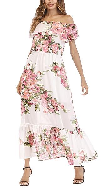 Vestidos De Fiesta Mujer Largos Tallas Grandes Elegante Verano Barco Cuello Manga Corta Sin Tirantes Maxi Vestido Impresión Fiesta Dresses Señoras Floral ...