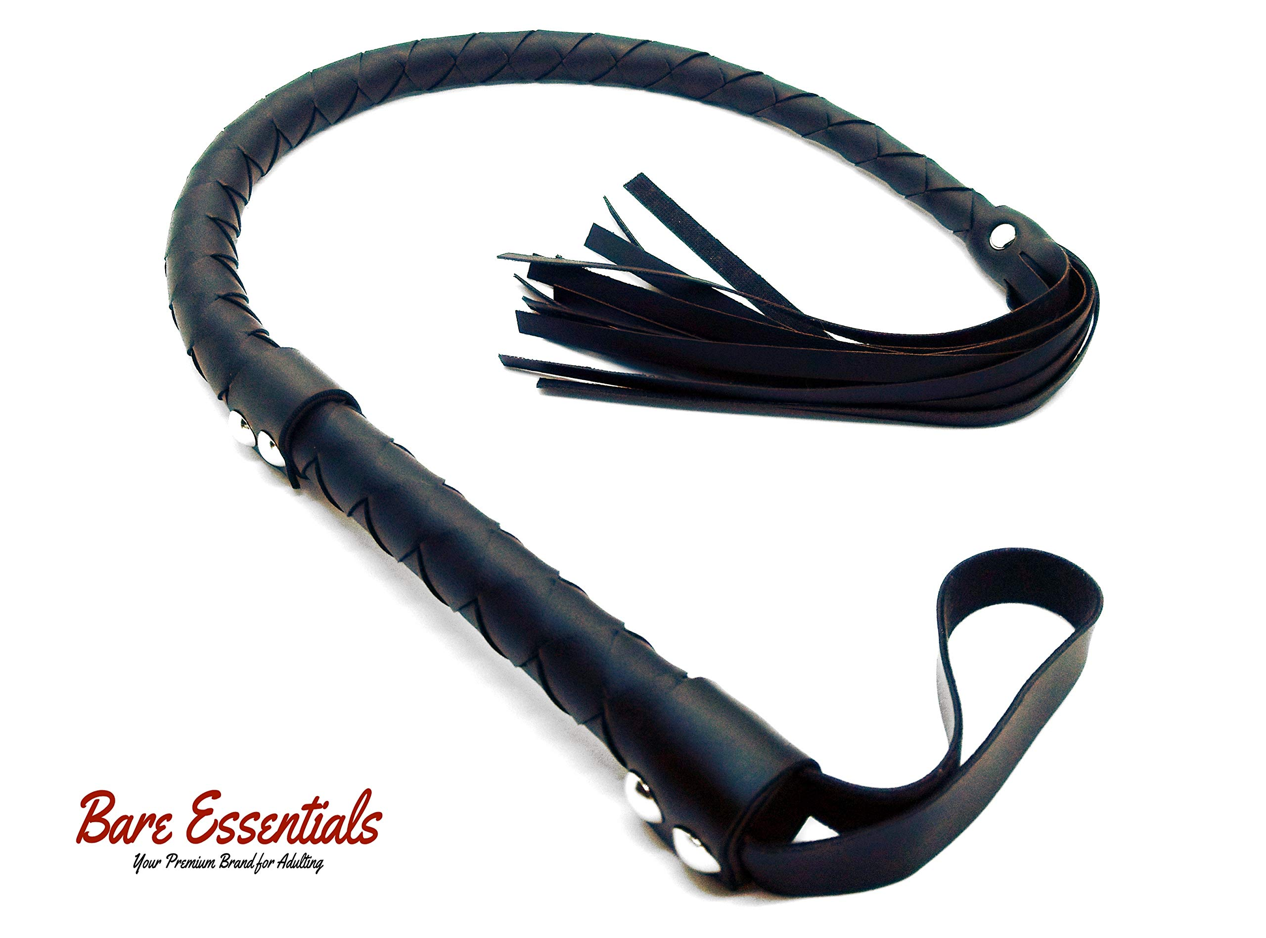 Heavy Duty Genuine Leather Premium Flogger Whip | Ideal for SM, Roleplay, Cosplay, Costumes, Photo/Video Props | 33'' Inches Long Premium Collection by Bare Essentials