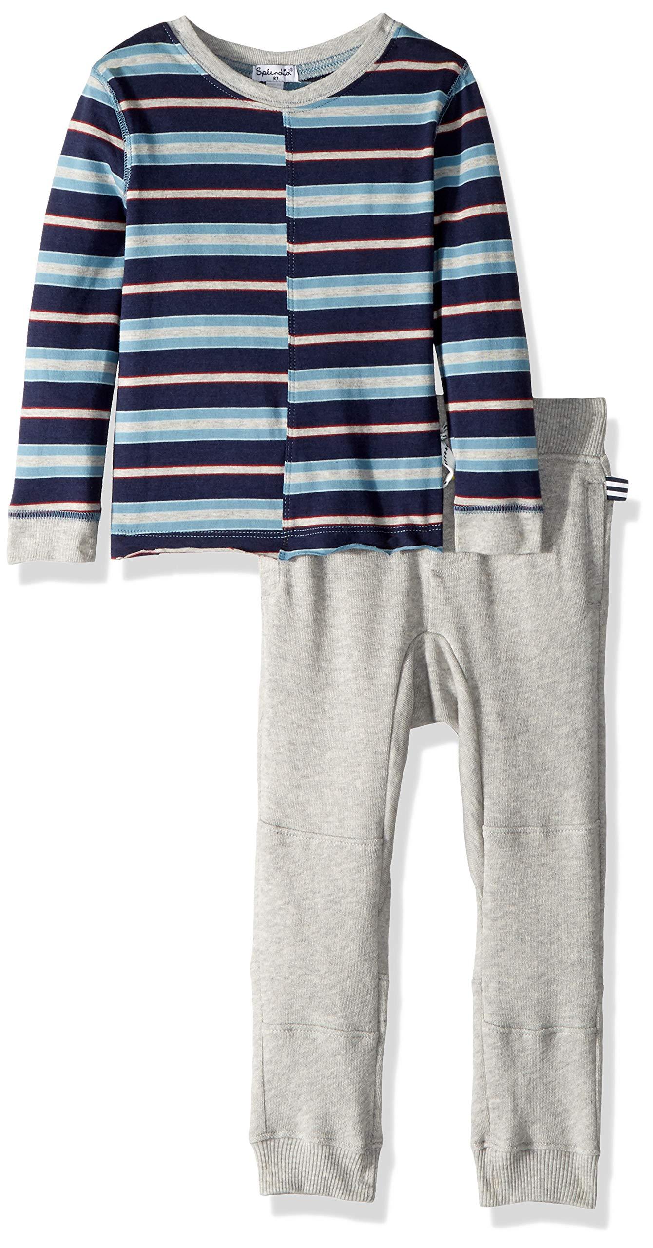 Splendid Toddler Boys' Yarn Dyed Jersey Long Sleeve Top Set, Light Grey Heather, 2T