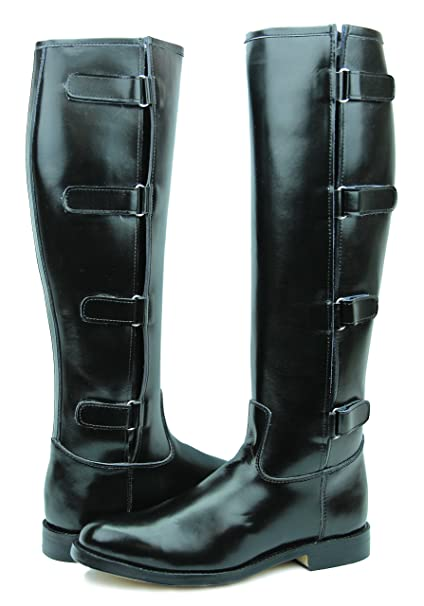 eb63cb67eb3e5 Hispar Spirit Ladies Women Tall knee high Leather Equestrian Polo Boots ( Black, 6 Regular