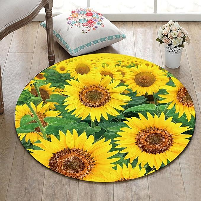 LB Pflanze Sonnenblume gelb grün Rutschfest maschinenwaschbar runde ...