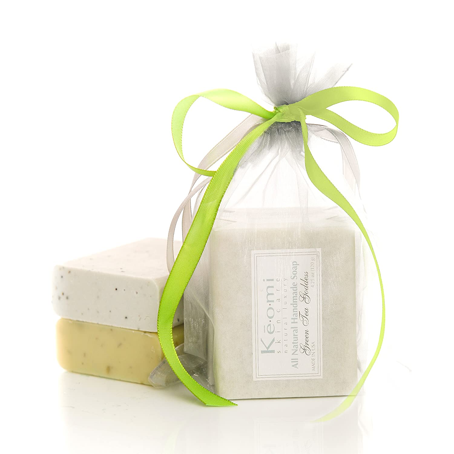 Organic Handmade Soap Gift Set by KEOMI NATURALS - Scented w/Pure Aromatherapy Grade Essential Oils - 2 Full Size Bars (Green Tea Goddess & Sea Breeze) Comes Packaged in a Lovely Organza Bag