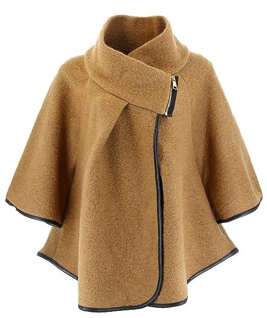 f3485a1ca4 Mantello Cappotto Giacca Lana Taglia Comoda Camel EVELINA Donna ...